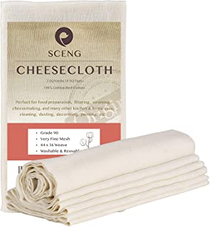Cheesecloth, Grade 90, 36 Sq Feet, Reusable, 100% Unbleached Cotton Fabric, Ultra Fine Cheesecloth for Cooking - Nut Milk ...