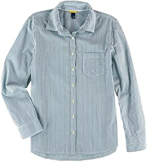 Aeropostale Womens Striped Pocket Button Up Shirt