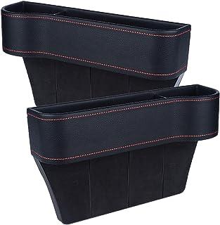 Heyeam 2 Pack Car Seat Pockets PU Leather Car Console Side Organizer Filler Catch Storage Box, Car Seat Gap Filler for Wal...