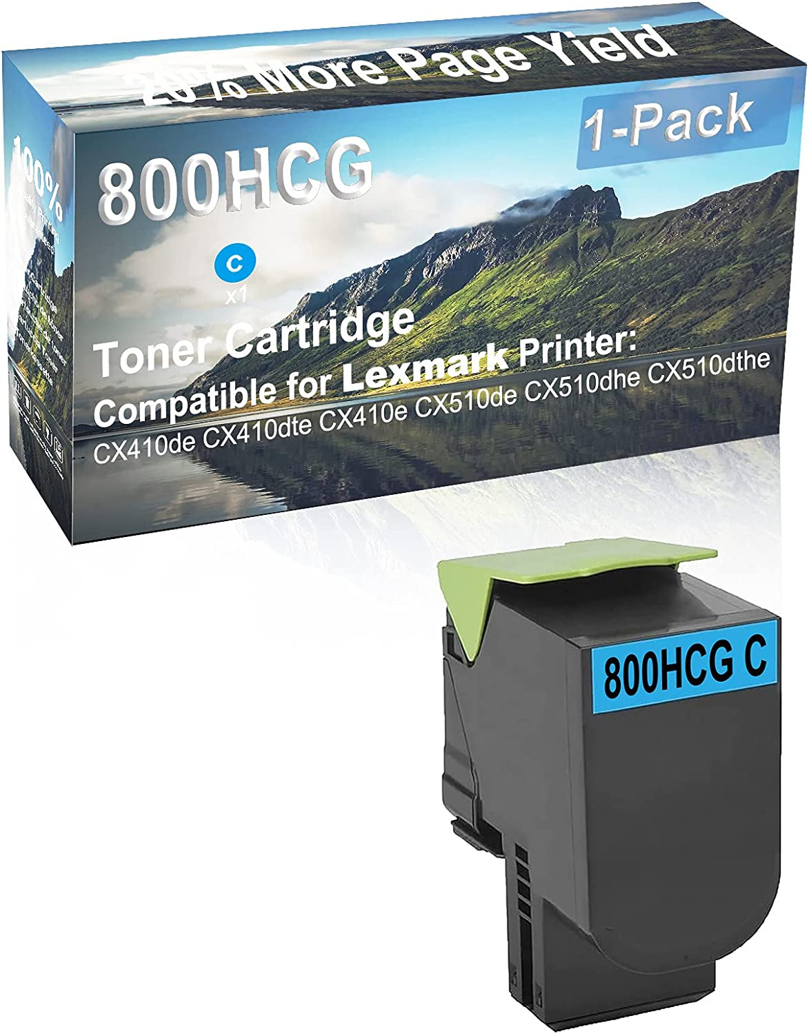 1-Pack (Cyan) Compatible High Capacity 800HCG Toner Cartridge Used for Lexmark CX410de, CX410dte Printer