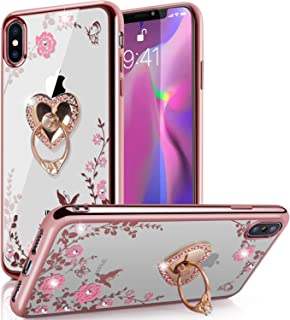 Funda iPhone Xs Max,Glitter Sparkly Diamond Secret Garden Mariposa floral Clear Back Funda de TPU suave con Bling Brillante Rhinestone Ring Grip Holder Stand para iPhone Xs Max (6.5