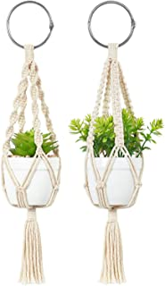 Mkono Mini Macrame Plant Car Hanging 2 Pcs Handmade Rear View Mirrior Charm Car Decorations Boho Hanging Planter with Pot and Plant for Car Home Decor Unique Christmas Ornament Gift,10.5-Inch,White