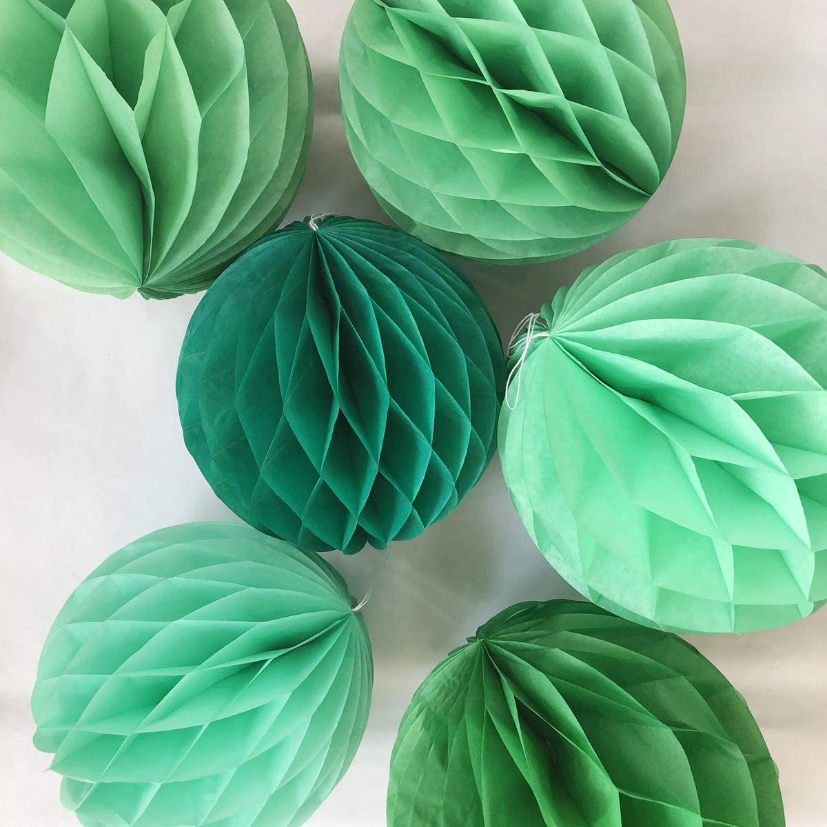 6pcs 10 inch 12 inch Paper Honeycomb Ball Flower Balls Hanging Assorted Paper Balls for Party Wedding Birthday Events Decor (Green Pack)