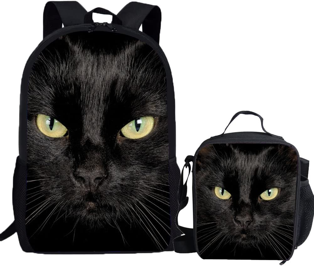 UNICEU Popularity Black Cat Backpack Deluxe with Lunch for Bag Pri Kids Elementary