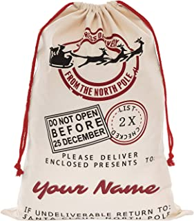Personalized Custom Drawstring Santa Sack - Add Your Name - Embroidered Christmas Canvas Stocking Bags for Kids, Family, Coworker