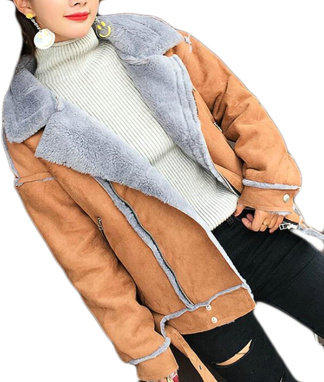 GenericWomen Generic Womens Lapel Long Sleeve Fleece Lined Suede Quilted Biker Jacket