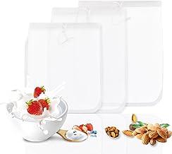 GWHOLE Tuerca Bolsa de leche Filtro de malla de nylon fuerte para almendras, coco, yogur griego, leche de soja, frutas y verduras, 20x25cm, 25x30cm, 30x30cm