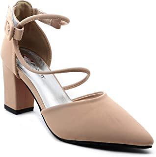 Shuberry SB-19018 Latest Footwear Collection, Comfortable & Fashionable Faux Leather in Beige, Black & Grey Colour Heels for Women & Girls