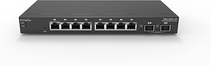 EnGenius  8 Gigabit Port Layer 2 Managed Switch, 2 SFP Ports with Centralized Network Management [managed up to 50 EnGenius APs] (EWS1200D-10T)