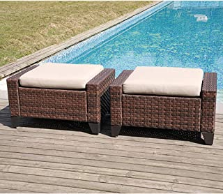 SUNSITT Patio Furniture Ottoman Outdoor Wicker Footstool with Removable Cushion Cover