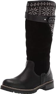 Muk Luks Women's Kelsey Boots Mid Calf, Black/Grey, 6 M US