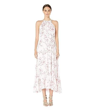 ML Monique Lhuillier Freesia Floral Print Halter Full-Length Dress (White Cayenne) Women