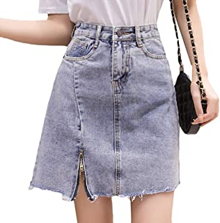 Mogogo Womens A-line Short Skirt High Waist Split Denim Classic Bodycon Skirt