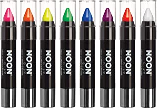 Moon Glow - Blacklight Neon Face Paint Stick / Body Crayon makeup for the Face & Body - Intense set of 8 colours - Glows brightly under blacklights
