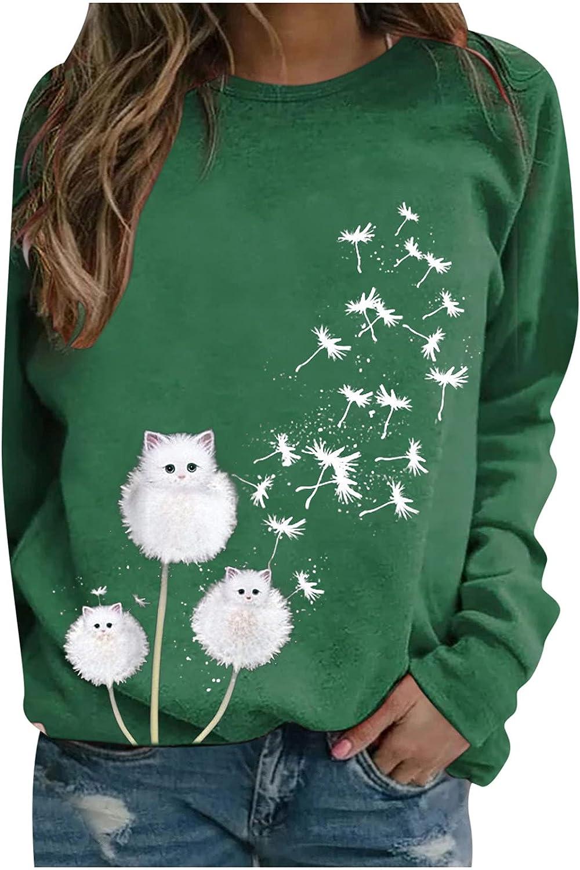 Women Tops Long Sleeve Shirts Cat Dandelion Graphic Tees Casual O Neck Pullover Tunic Trendy Sweatshirt Basic Blouse