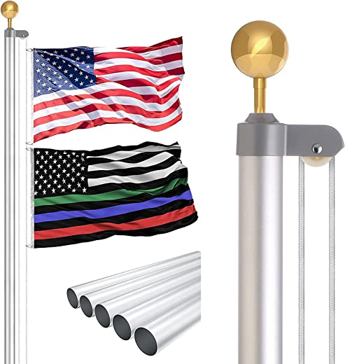 RUFLA 25 FT Sectional Flag Pole Kit Extra Thick Heavy Duty Aluminum Outdoor In ground Tangle Free Flagpole with 3'x5' American Flag and Gold Ball for Residential Commercial Yard House