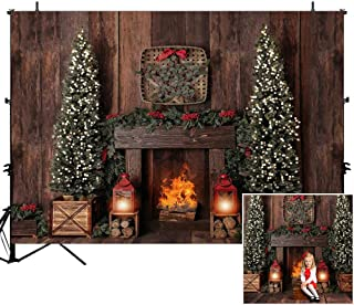 Mocsicka Christmas Holiday Party Backdrop Vintage Fireplace Christams Tree Photo Background 7x5ft Winter Holiday Family Party Backdrops for Newborn Children Xmas Party Supplies