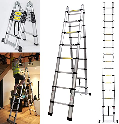 lowest Telescoping Extension Ladder 16.5ft Aluminum Portable new arrival Multi-Purpose Folding A-Frame with Hinges Safety Locking System 330lb Load Capacity sale for Indoor Outdoor Work sale