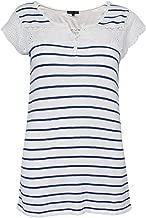 Leo & Ugo Womens Striped Knit Top White/Blue 1,3