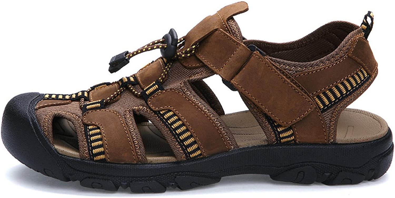 LXXAMens Summer Beach Light Weight Velcro Trekking shoes Leather Large Size Sports Sandals Athletic Footwear