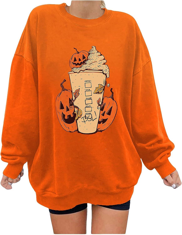 Halloween Womens Oversized Sweatshirt Fleece Fluffy Long Sleeve Pumpkin Face Pullover Plus Size Sweatshirts for Women