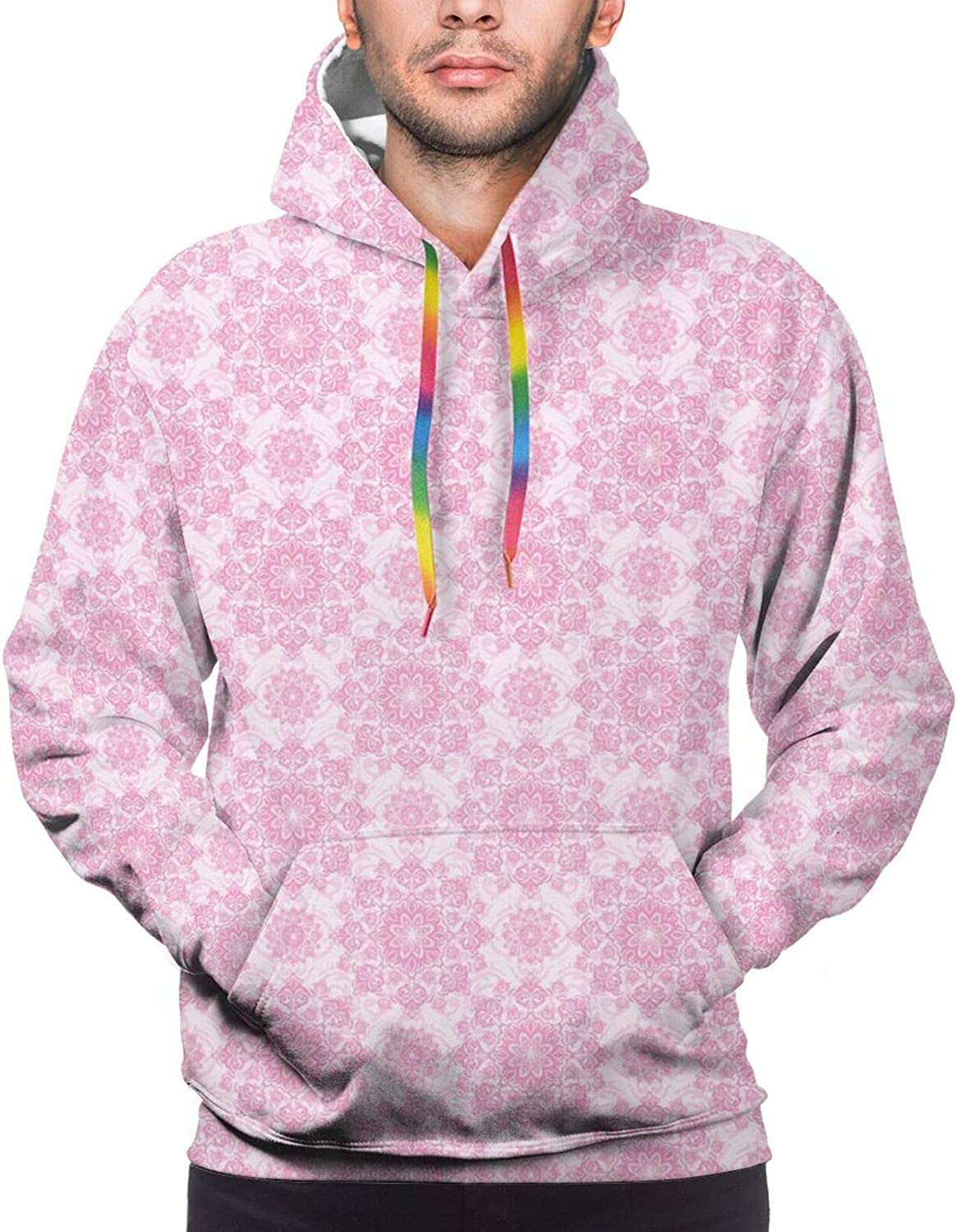 TENJONE Men's Hoodies Sweatshirts,Modernistic Hatched Shapes Geometrical Pattern Concave Star Like Shape and Square
