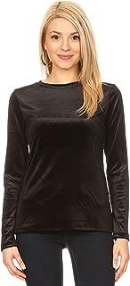 Long Sleeve Velvet Tops for Women Reg and Plus Size Crew Neck T Shirt - Made in USA