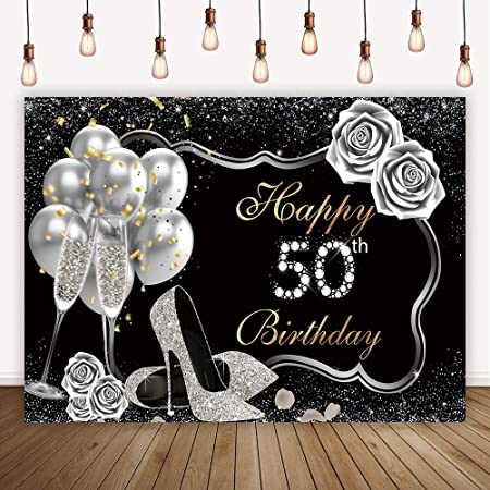 OERJU 5x3ft Happy Birthday Backdrop Golden and Sliver Banner Photography Background Gift Box Backdrops for Photography Kids Birthday Party Newborn Baby Shower Portrait Photo Prop Vinyl Wallpaper