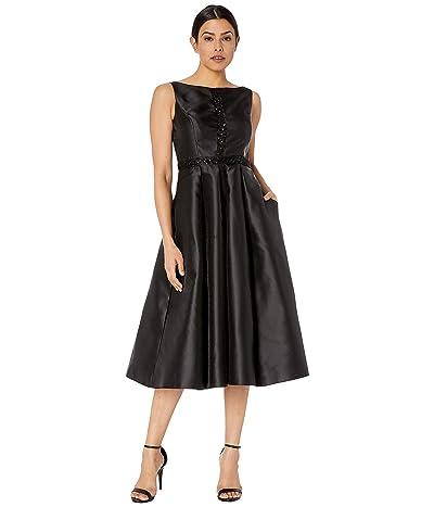 Adrianna Papell Mikado Tea Length Dress with Beaded Waist (Black) Women