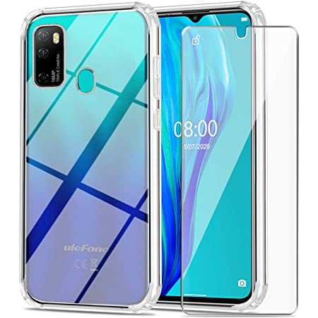 """Ulefone Note 9P Case with Tempered Glass Screen Protector Crystal Soft Clear Shockproof TPU Bumper Transparent Silicone Protective Phone case Cover for Ulefone Note 9P (6.52"""")"""