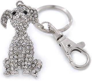 Avalaya Clear Austrian Crystal Dog Keyring/Bag Charm In Silver Tone - 11cm L