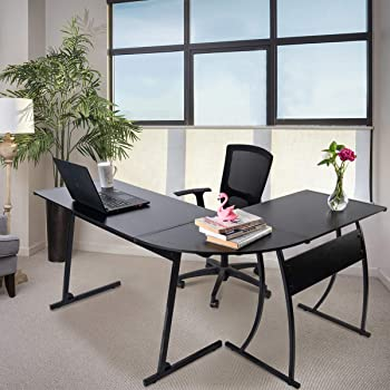 Upscale Decor L Shaped Corner Computer Gaming Desk Modern Workstation Table for Small Space Home Office, Black