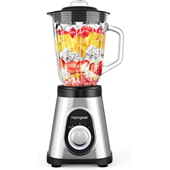 Homgeek Blender 750W, Smoothie Blender for Shakes and Smoothies, Countertop Smoothie Maker with 51 oz BPA-Free Glass Pitcher for Crushing Ice and Frozen Fruit