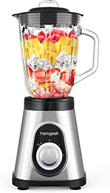 Homgeek Blender 750W, Smoothie Blender for Shakes and Smoothies, Countertop Smoothie Maker with 51 oz BPA-Free Glass Pitcher