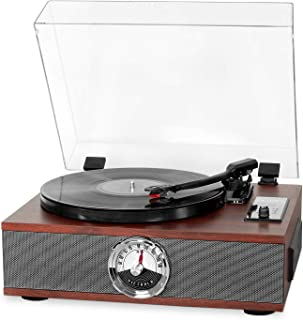 Victrola 5 en 1 - Reproductor Bluetooth de Madera con 3 velocidades, Giratorio, CD y Radio