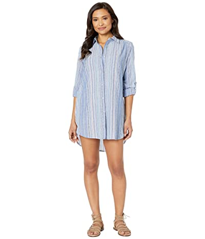 La Blanca Brunch To Boardwalk Button Up Shirtdress Cover-Up (Multi) Women