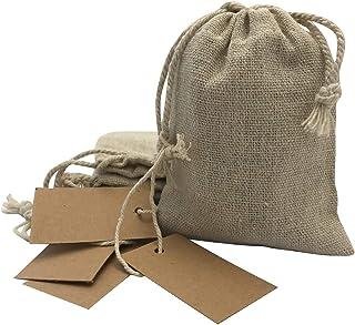 comprar comparacion DUAMY Bolsitas para Regalos de Tela de arpillera con Etiquetas de Papel Kraft. Bodas, comuniones, bautizos, etc. Pack de 2...