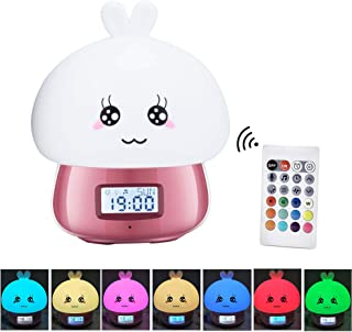 Multicolor Silicone Alarm Clock Led Touch Table Nightlight Rechargeable Sensitive Remote Control Cute Animal Desk Lamp Bedroom Lamp for Baby, Children, Toddlers or Nursery -Pink