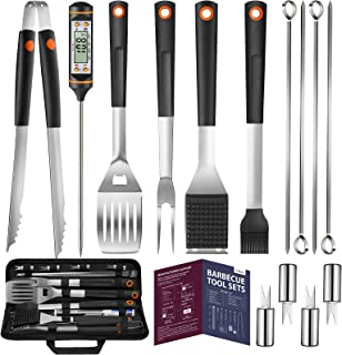 Veken 15 Pc. Grilling Accessories Tools Set with Meat Thermometer, BBQ Accessories Kit with 4-in-1 Spatula, Stainless-Steel Skewers, Grilling Tongs, Steel Wire Brush, and Corn Holder, Gifts for Men
