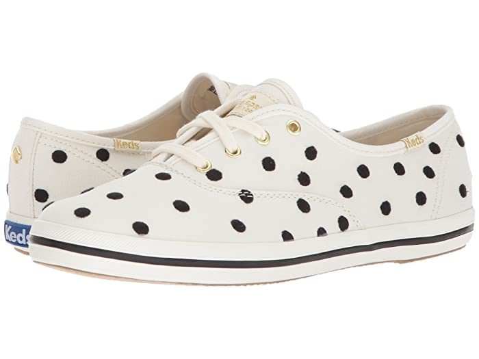 Retro Vintage Flats and Low Heel Shoes Keds x kate spade new york Champion Dancing Dot WhiteBlack Womens Shoes $46.80 AT vintagedancer.com