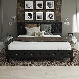 Urest Full Size Bed Frame Platform Bed Mattress Foundation Wood Slat Support Upholstered Button Tufted Diamond Stitch with Headboard, Black