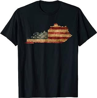 Kentucky T-Shirt I Vintage US Flag Patriotic Map Shirt
