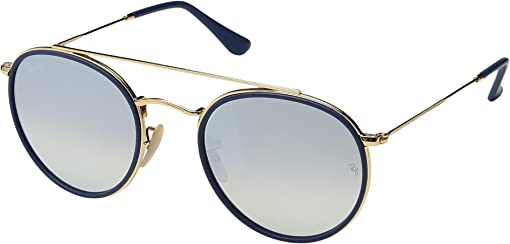 Top Blue on Shiny Gold Frame/Grey Flash Gradient Lens
