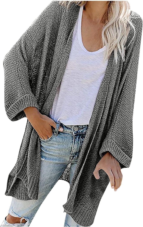 Women's Fall Knit Cardigan Jacket Lightweight Sweater Outwear Long Sleeve Dressy Casual Open Front Loose Blouse Jacket