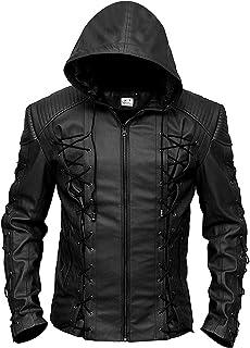 ST- Arrow Slim Fit Hooded Faux Leather Jacket for Men - Superhero Halloween Costume for Men