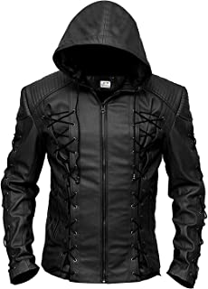 ST- Faux Leather Slim Fit Hooded Leather Jacket for Men - Inspired by Stephen Amell Green Arrow & Roy Harper Red Arrow
