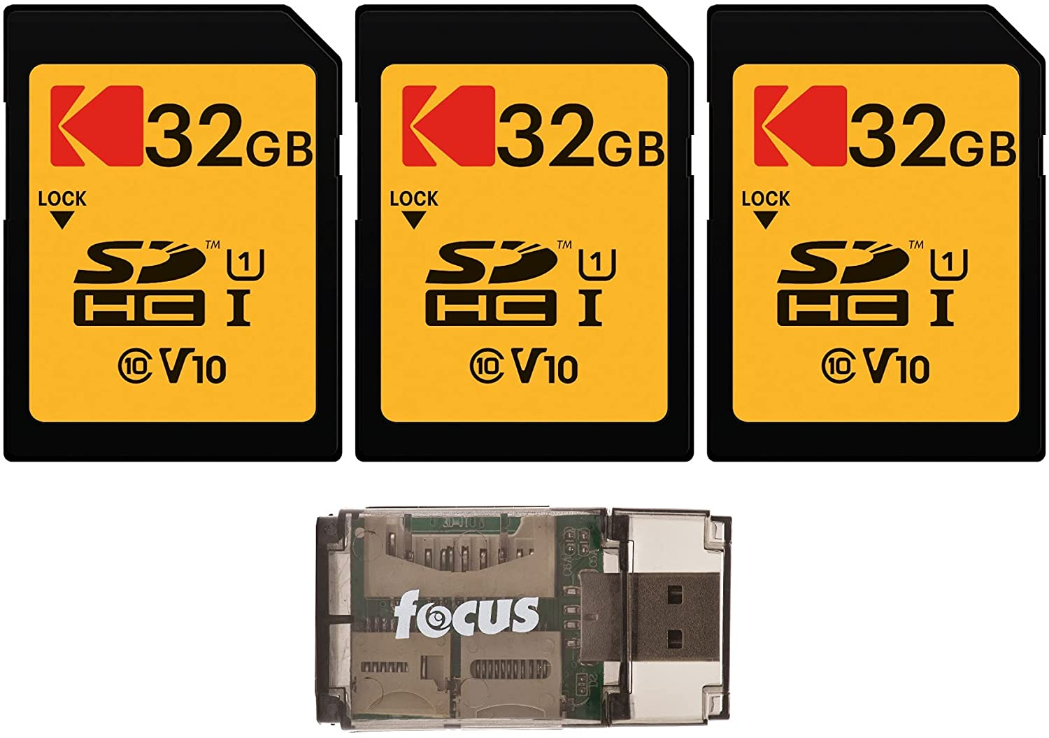 Kodak 32GB Class 10 UHS-I U1 SDHC Memory Card (3-Pack) with Focus All-in-One USB Card Reader Bundle (4 Items)