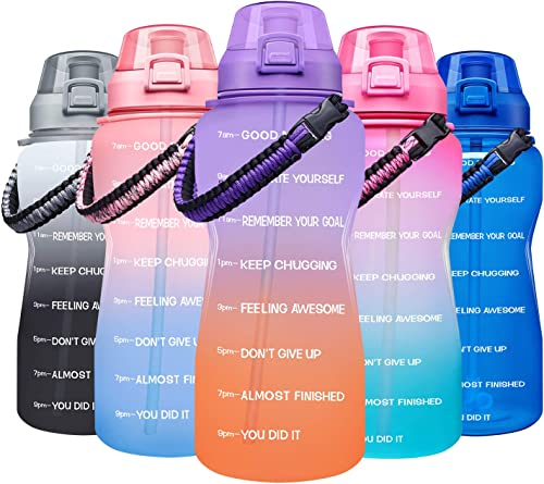 Giotto Large Half Gallon/64OZ Motivational Water Bottle with Paracord Handle & Straw - Leakproof Tritan BPA Free Fitn...