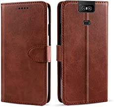 CSTM Asus Zenfone 6 ZS630KL Case, Protective Folio PU Leather Wallet Phone Shell Cover with Credit Card Slots,Cash Pocket,Stand Holder,Magnetic Closure for Asus Zenfone 6/6Z/ZS630KL 2019(Brown)
