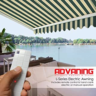 ADVANING 10'x8' Motorized Patio Retractable Awning | Luxury Series | Premium Quality, 100% Solution-Dyed European Acrylic UV Sun Shade, Color: Garden Green Stripes, EA1008-A808H2